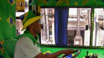 Raw: Brazil Bus Gives World Cup Fans a Fun Ride