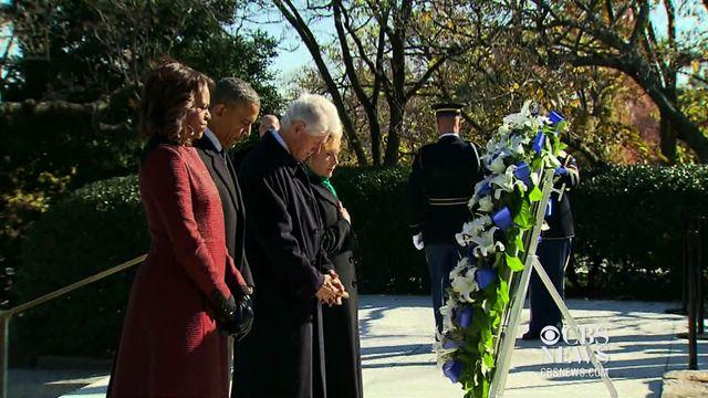 Obamas and Clintons lay wreath at JFK gravesite