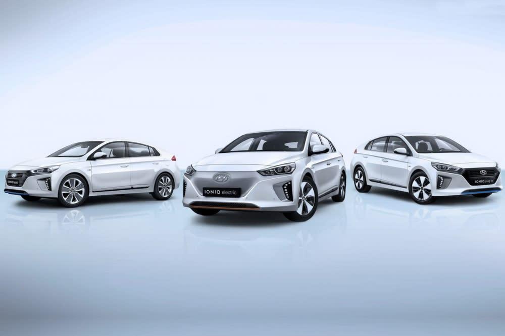 作為全球首款針對電能動力開發的專屬車型,Hyundai Ioniq同步推出Electric、Plug-in與Hybrid三款型號