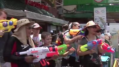 Raw: Water Fights for Buddhist New Year