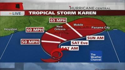 Tropical Storm Karen approaches New Orleans