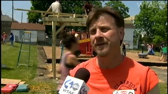Volunteers build playground in one day