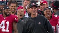San Francisco 49ers honor head coach Jim Harbaugh after win