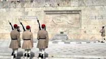 Tourists Gather for Changing of the Guard in Athens