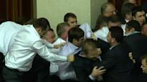 Raw: Brawl Over Vote in Ukraine Parliament
