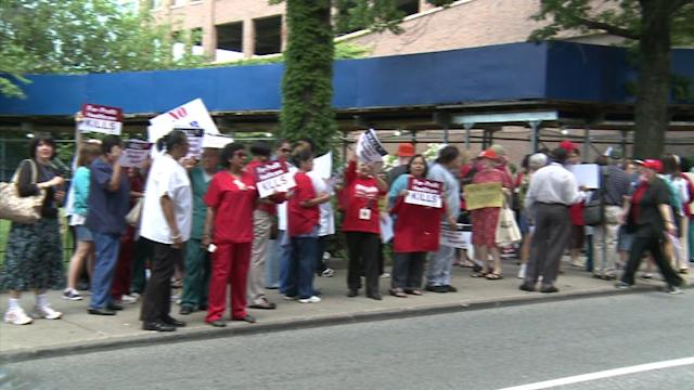 Heated Protests Outside Brooklyn Hospital