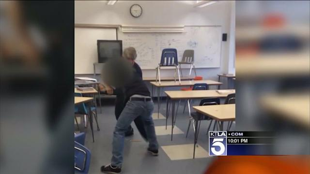 Teacher Takes Down Student During Classroom Confrontation