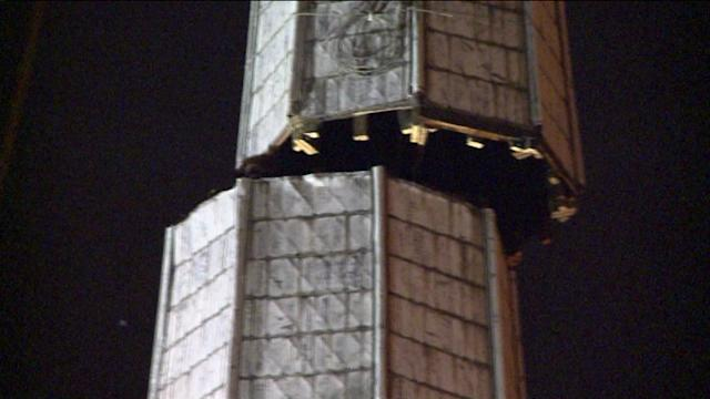 RAW: Loose church steeple removed from church on Belmont