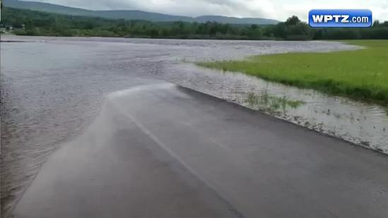 RAW VIDEO: Flood waters cover Cadyville road