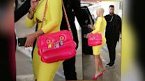 Amber Rose In Candy Colours With Inflatable Moschino Bag