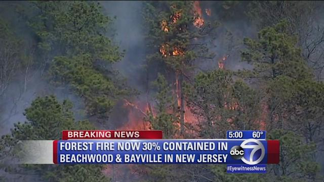Forest fire raging in New Jersey