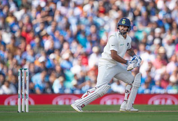 Hanuma Vihari looks on as he plays his shot
