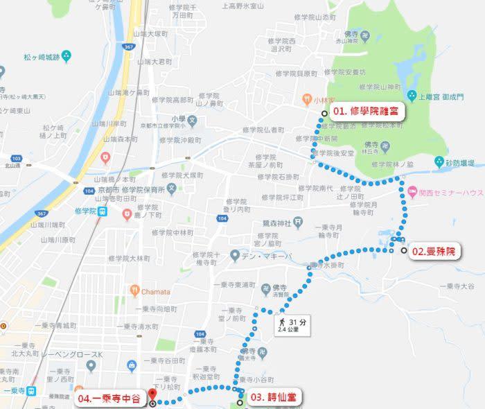 京都賞楓一日散策散步路線地圖