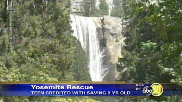 Teen saves boy from being swept over waterfall