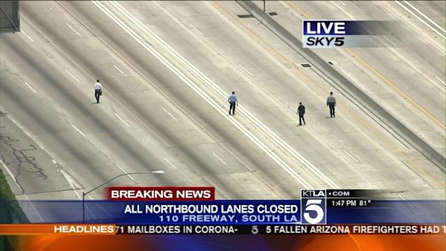Portion of 110 Freeway Closed After Shooting; 1 Hospitalized