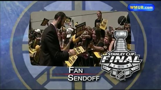 Bruins fans gather to send team to Chicago
