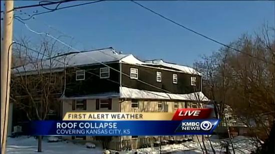 Apartment roof partially collapses in KCK, no injuries reported