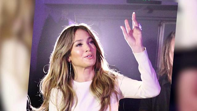 Oops! Jennifer Lopez Sports Stains on Her White Leather Trousers