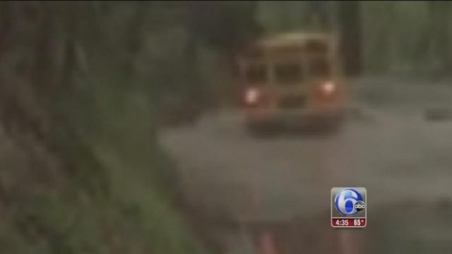 Video shows school bus driving through flood in Chester County