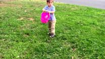 Little Girl Trips and Falls during Easter Egg Hunt