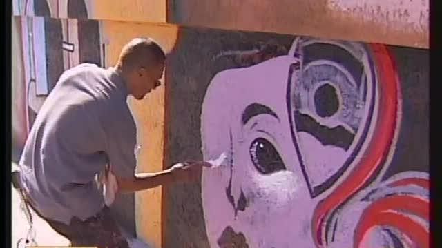 Blind Artist Paints Mural