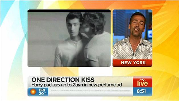 One Direction boys kiss in perfume ad