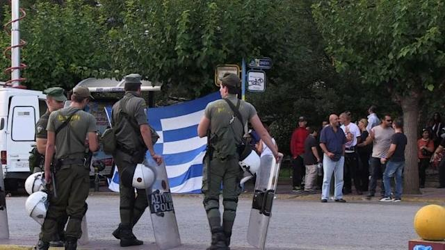 Golden Dawn supporters protest outside Athens court