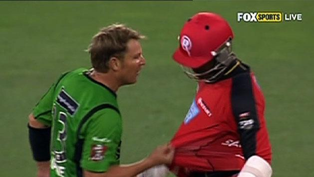 Warnie fires up in ugly clash