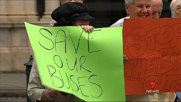 Residents protest bus timetable