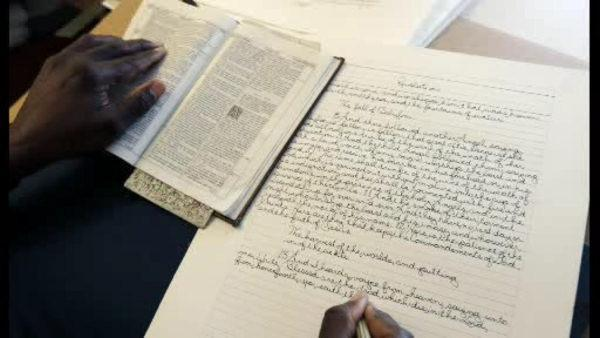 NY man finishes writing out entire Bible by hand
