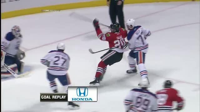 Brandon Saad hits one out of the air