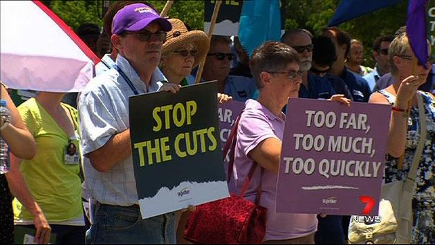 Health workers protest cuts