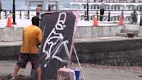 Street Artist Paints an Entire Portrait Upside-Down