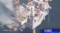 Offshore natural gas platform continues to burn