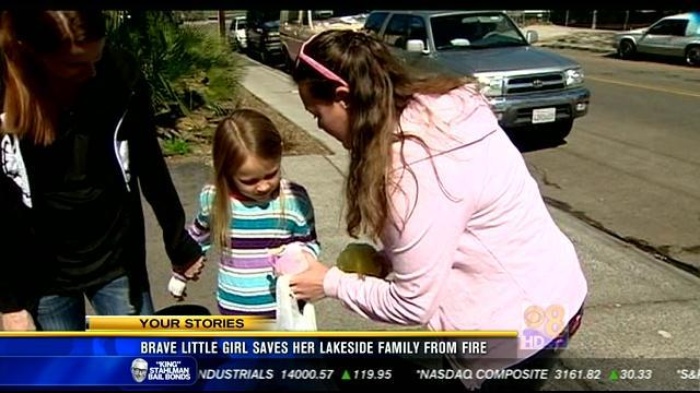 Brave little girl saves her Lakeside family from fire