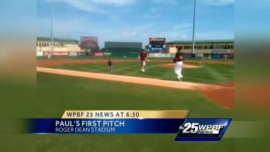 Paul LaGrone throws out first pitch at Cardinals-Marlins game