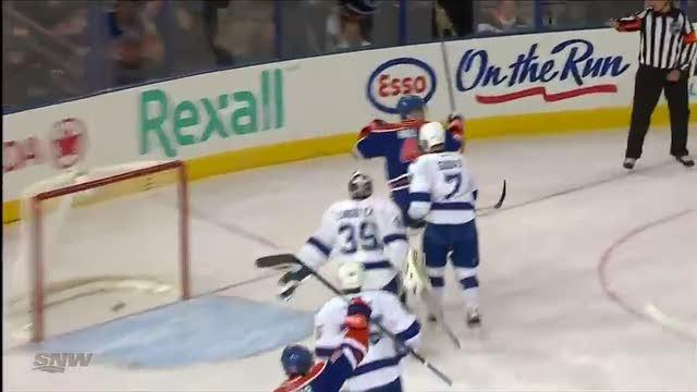 Taylor Hall redirects Ference shot for goal