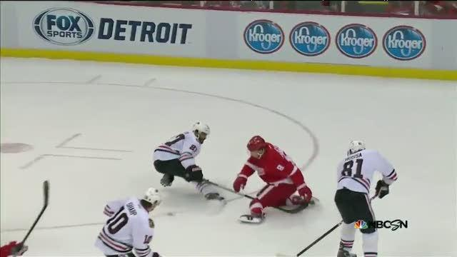 Justin Abdelkader's kicking assist to Eaves