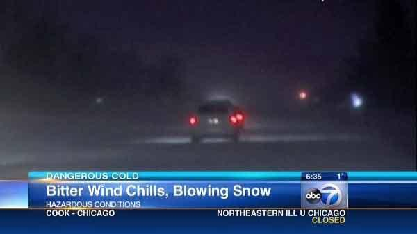 Chicago-area drivers challenged by blowing snow, cold