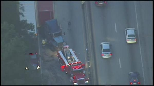 Pickup truck hit by tractor trailer on I-76