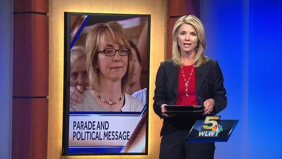 Gabby Giffords and husband speak about gun laws before Northside parade