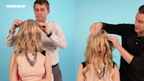 Clueless Guys Put Hair Extensions On A Woman