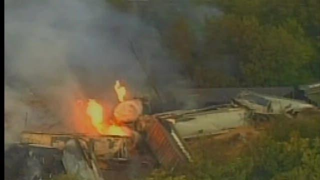 Columbus train derails, catches fire