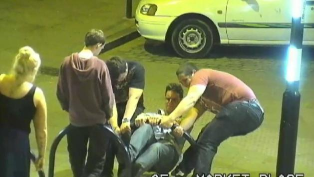 Lads on night out fix broken bike rack