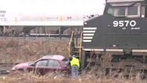 Stalled car hit by train in Pa., but no one hurt