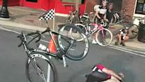 Cyclist Crashes at Finish Line