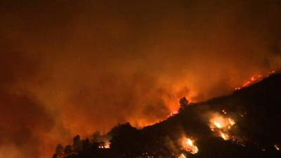Raw: Thousands Told to Flee San Marcos Fire