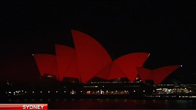 Opera House turns red for new year