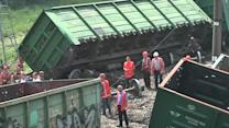 Train derails in eastern Ukraine after blast