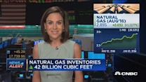 Nat gas inventories up 42 bcf